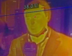 """Por qué el reportero de Informativos Telecinco """"dio fiebre"""" en directo en el termómetro de IFEMA"""