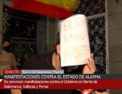 """El grito de un manifestante en el barrio de Salamanca a las cámaras 'Cuatro al día': """"¡Viva Hitler!"""""""