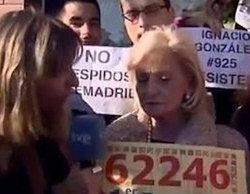 Trabajadores de Telemadrid protestan en directo en el especial de Mariló Montero de la Lotería de Navidad