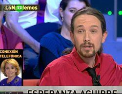 Tensión en el plató de 'laSexta noche' con el enfrentamiento entre Esperanza Aguirre y Pablo Iglesias