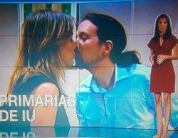 Telemadrid usa una imagen de Tania Sánchez besando a Pablo Iglesias para ilustrar una noticia de Izquierda Unida