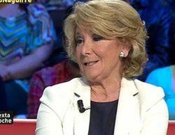 'laSexta noche' baja pero anota un gran 10,3% con Esperanza Aguirre y lleva a mínimo a 'Un tiempo nuevo' (7,8%)