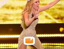 """Edurne enseña su """"amanecer"""" durante su actuación en la final de Eurovisión 2015"""