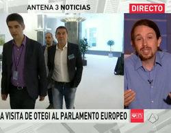 Pablo Iglesias acusa al presentador de 'Antena 3 Noticias' de mentir sobre la invitación de Otegi al Parlamento Europeo