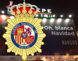 """La Policía hace suyo el cartel de 'Narcos': """"Oh, azul Navidad"""""""