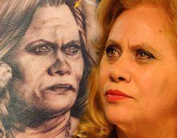 Un fan de Carmina Barrios ('Allí abajo') se tatúa el rostro de la actriz en una cacha
