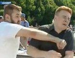 """Agresión en directo de un hooligan ruso a un reportero al grito de """"¡Conquistaremos Ucrania!"""""""