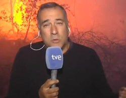 Xabier Fortes se arriesga en un directo de 'Los desayunos' entre llamas tras criticar la cobertura de TVE