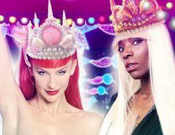 Dnoé Lamiss, hermana de Carolina Sobe, y la drag queen La Prohibida, Reinas Magas de la cabalgata de Vallecas