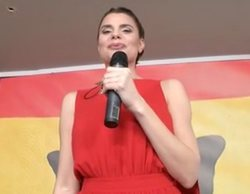 'Cazamariposas': María Lapiedra imita a Marta Sánchez y crea su propia letra para el himno de España