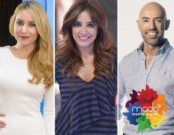 Carmen Alcayde, Berta Collado y Emilio Pineda, presentadores del Orgullo LGTBI en Telemadrid