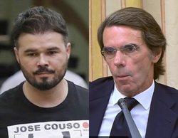 """Aznar guarda silencio con la pregunta de Rufián sobre José Couso: """"¿Tiene algo que decirles a sus padres?"""""""