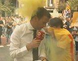 Reporteros de 'Ya es mediodía' y '120 minutos' de Telemadrid, boicoteados por grupos de independentistas