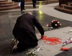 """Un artista pinta la tumba de Franco en el Valle de los Caídos al grito de """"por la libertad"""""""