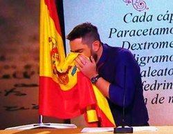 Dani Mateo, imputado por la Justicia por sonarse los mocos con una bandera española en laSexta