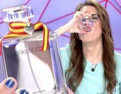 """Elsa Ruiz ('Todo es mentira') se bebe un vaso del perfume Gotas de España: """"Sabe a VOX"""""""