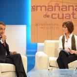Jose Luis Rodríguez Zapatero con Concha García Campoy en Cuatro