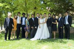 Foto de familia de la boda entre Pepa y Silvia