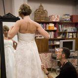 Blanca con el traje de novia