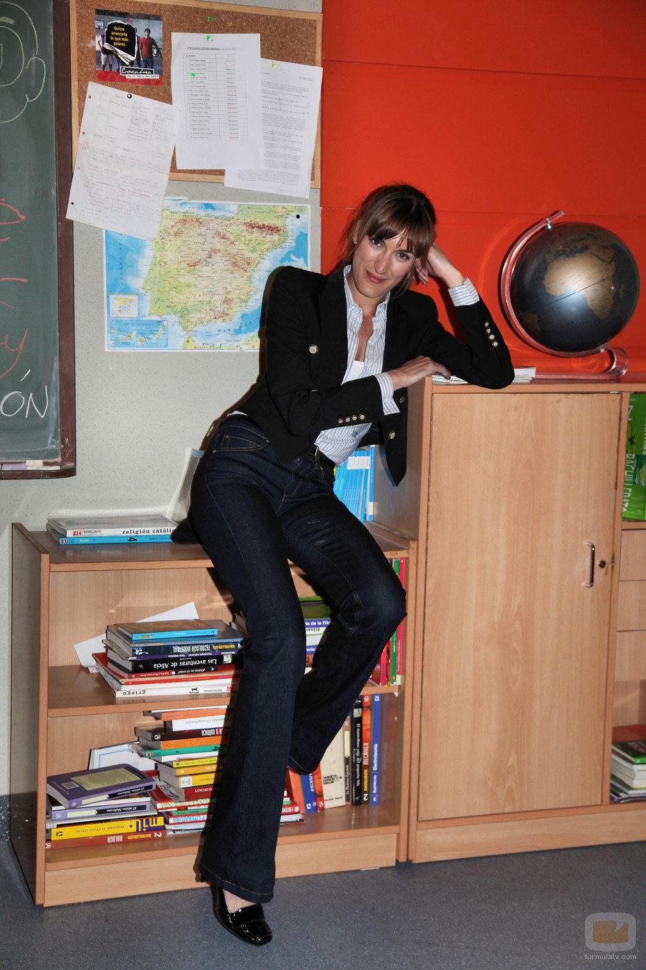 Cristina Alcázar en la clase de Filosofía