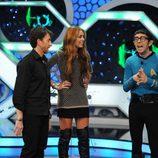 Miley Cyrus y Pablo Motos con Flippy vestido de Spock
