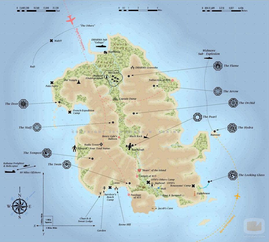 Mapa de la Isla de 'Perdidos' según Jonah M. Adkins