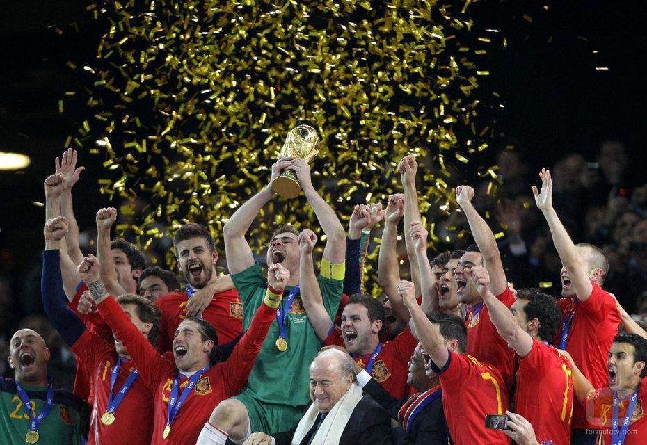 La Selección Española celebra el Mundial
