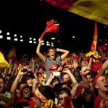 La Plaza de España de Barcelona durante la final del Mundial