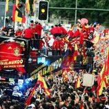 El autobús de la Selección Española por Madrid