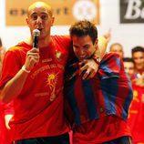 Cesc, con la camiseta del Barça durante la celebración del Mundial