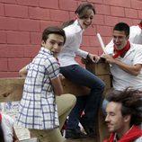 Carlos, Felipe y Karina en los Sanfermines