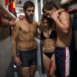 David Seijo, Marina Salas y Bernabé Fernández medio desnudos