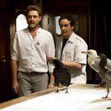 Ricardo Montero y Julián de la Cuadra con las aves