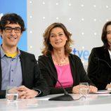 Juanra Bonet, Montse Abbad y María Maicas en la presentación de 'Gafapastas'