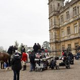 Rodaje con los guardias en 'Downton Abbey'