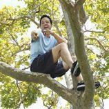 Grayson subido a un árbol en 'Cougar Town'