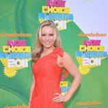 La atleta Lindsay Vonn en la alfombra naranja de los Kids' Choice Awards