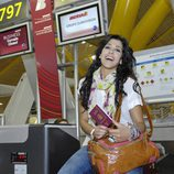 Lucía Pérez en el aeropuerto rumbo a Düsseldorf