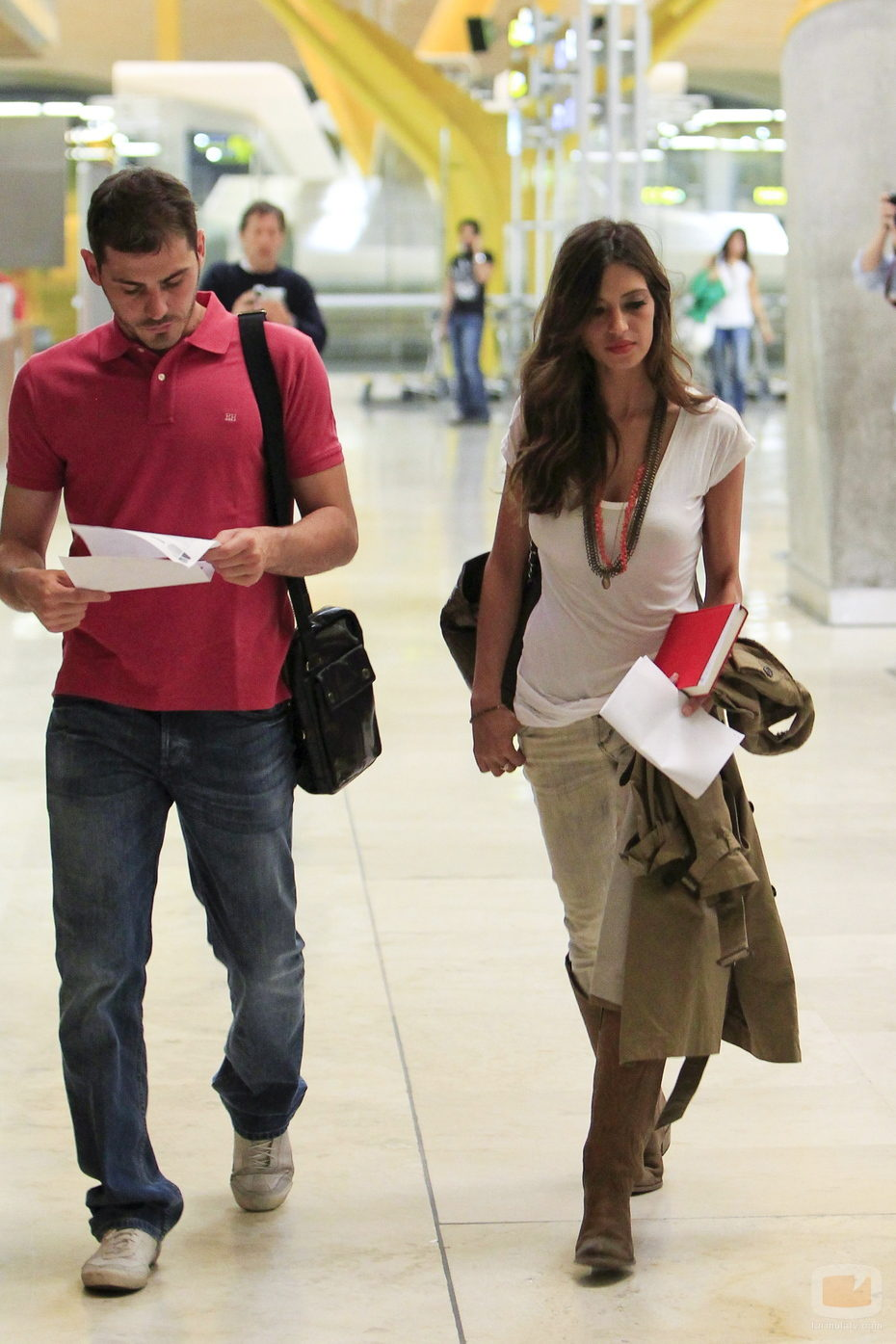 Íker Casillas y Sara Carbonero en la T4 de Barajas