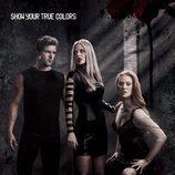 Cartel promocional de la cuarta temporada de 'True Blood' en negro