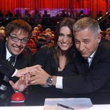 Ángel Llacer, Noemí Galera y Javier Sardá aprentando el pulsador en 'Tú sí que vales'
