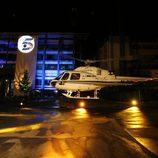 El helicóptero aterriza en los estudios de Telecinco