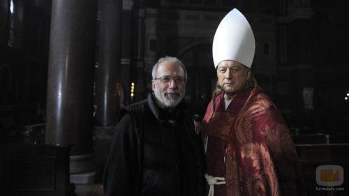 Tom Fontana y Udo Kier durante la grabación de 'Borgia'