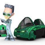 Zack, con su coche verde