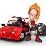 Tina, con su coche rojo