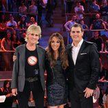 Mercedes Milá, Ruth Jiménez y Albert Rivera posan en el plató de 'El Comecocos'