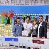 Jaime Cantizano, Jorge Fernández, Lourdes Maldonado y Ramón Arangüena en 'La ruleta de la suerte'