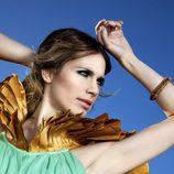 Vanesa Romero de verde y dorado en Lanne Magazine