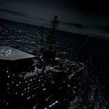 Maqueta de la fortaleza de 'La fuga', en el mar de noche