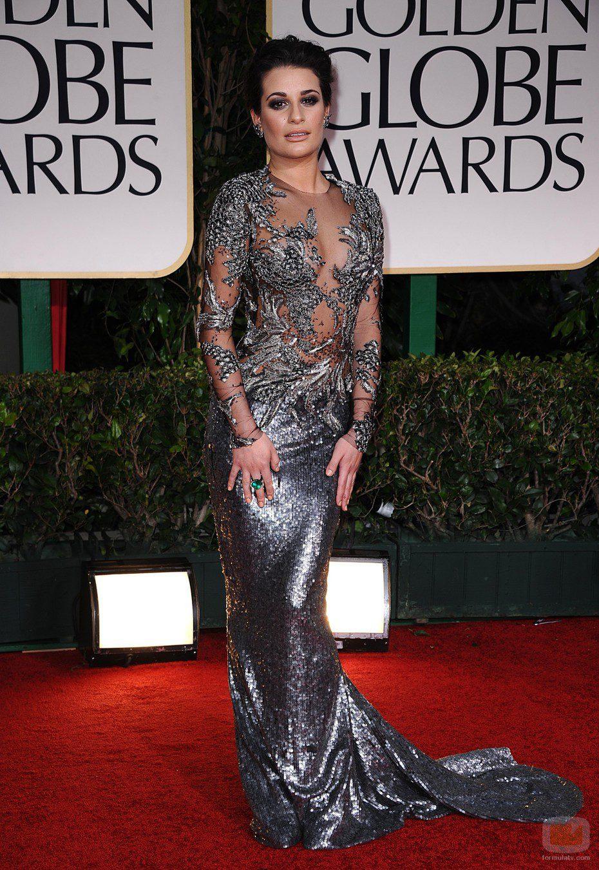 Lea Michele, impactante en los Globos de Oro 2012